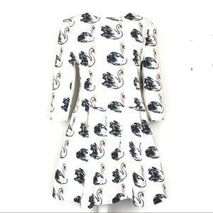 Fit and Flare Swan Graphic Print Dress Plus Sz XXL
